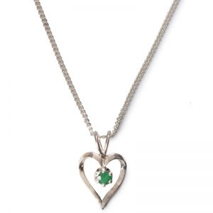 cornish tin & silver outline heart necklace with emerald