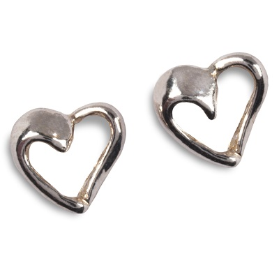 image of cornish tin and white gold heart stud earrings.