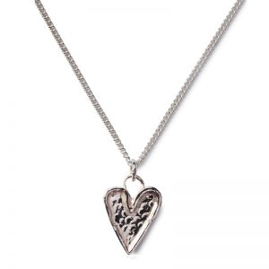 cornish tin & silver hammered heart necklace