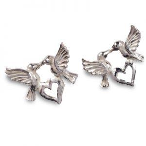 cornish tin & silver hummingbird stud earrings