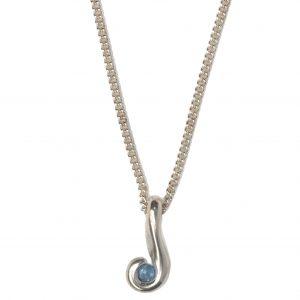 cornish tin & silver Aquamarine swirl necklace