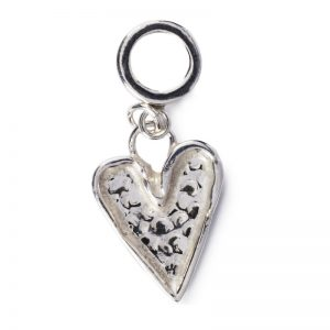 cornish tin & silver hammered heart charm