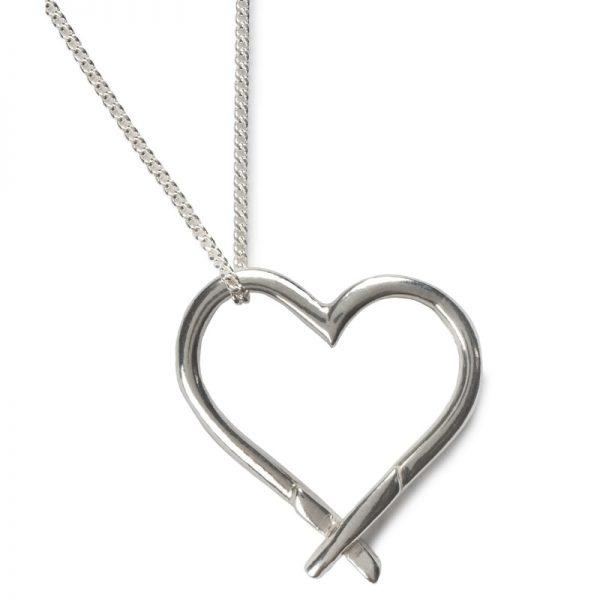 cornish tin & silver large kiss heart necklace