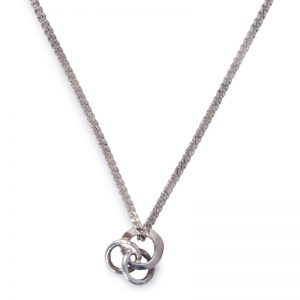 image of cornish tin and white gold 3 circle necklace.