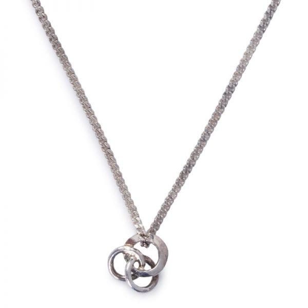 image of cornish tin and white gold 3 circle necklace.