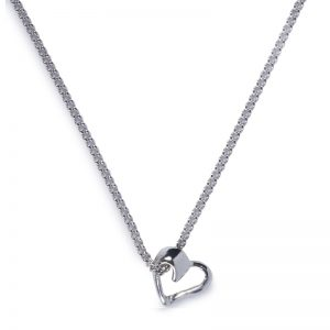 image of cornish tin and white gold heart necklace.