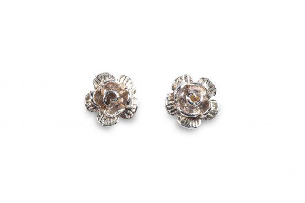 cornish tin & silver rose studs