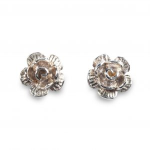 cornish tin & silver rose studs