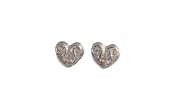 cornish tin & silver engraved heart studs