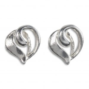 cornish tin & silver swirl heart studs