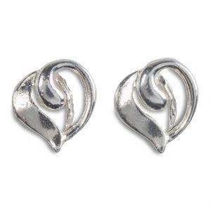 cornish tin & silver swirl heart studs