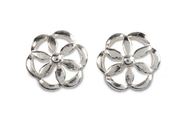 cornish tin & silver round daisy studs