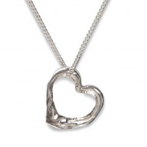 cornish tin & silver misshapen heart necklace