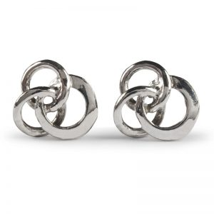 Image of cornish tin and white gold 3 circle stud earrings.
