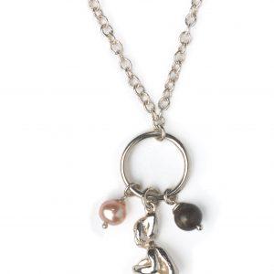 cornish tin & silver pixie & pearl necklace