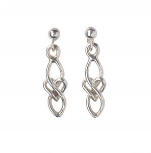 cornish tin and silver celtic heart drop earrings