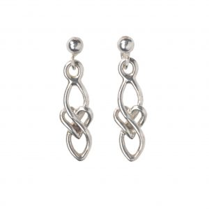 cornish tin and silver celtic heart drop earrings