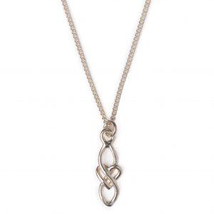 cornish tin & silver long heart necklace