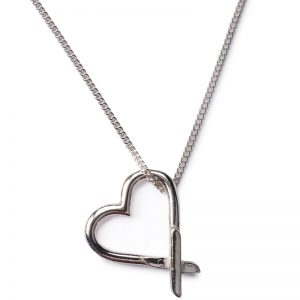 cornish tin & silver kiss heart necklace