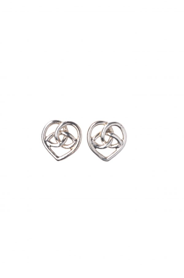 image of cornish tin and white gold celtic heart stud earrings.