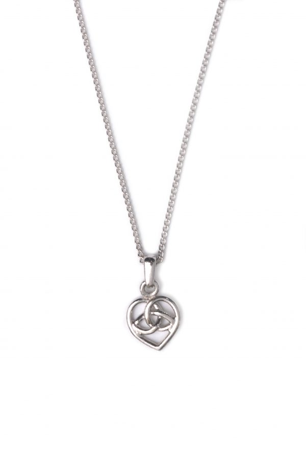 image of cornish tin and white gold celtic heart necklace.
