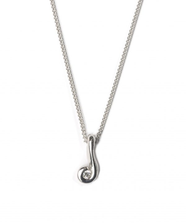 cornish tin & silver swirl necklace with white topaz