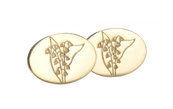 image of cornish tin and gold lily of the valley cufflinks