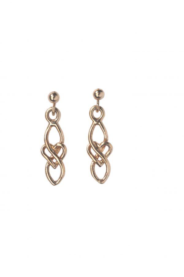 cornish tin & gold long heart earrings
