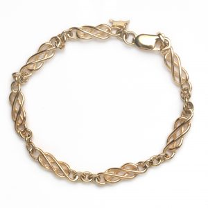cornish tin & gold long link bracelet