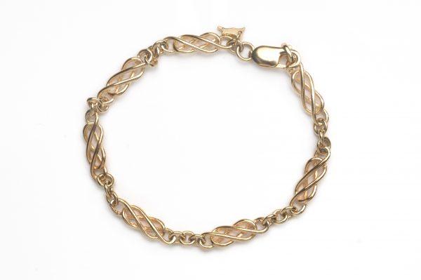 cornish tin & gold long link bracelet