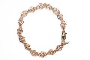 cornish tin & gold round knot bracelet