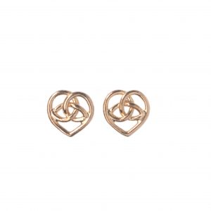 cornish tin & gold Celtic heart stud earrings