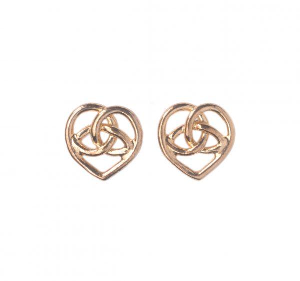 cornish tin & gold Celtic heart stud earrings