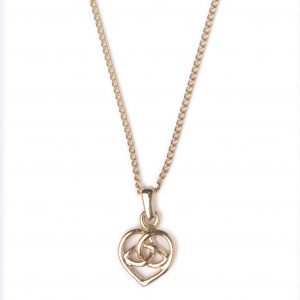 cornish tin & gold celtic heart necklace