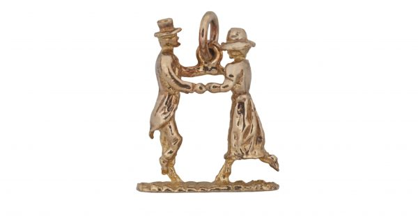 Image of cornish tin and gold flora day dancers charm.