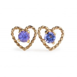 image of cornish tin & gold tanzanite stud earrings