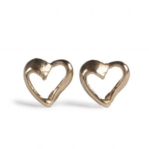 image of cornish tin and gold heart stud earrings