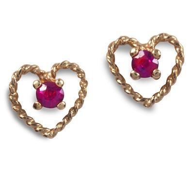 image of Cornish Tin & Gold ~ Ruby Twist Heart Stud Earrings
