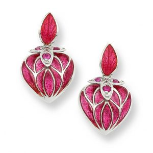 nicole barr heart earrings with red ruby