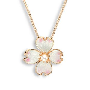 nicole barr flower with pearl necklace