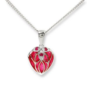 nicole barr heart necklace with red ruby