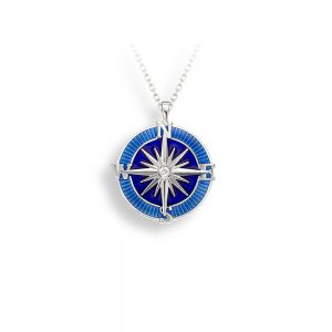 Silver Blue Compass Necklace