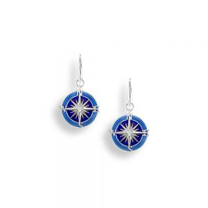 Silver Blue Compass Earrings