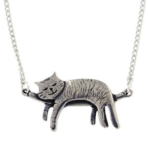 st justin sleeping cat necklace