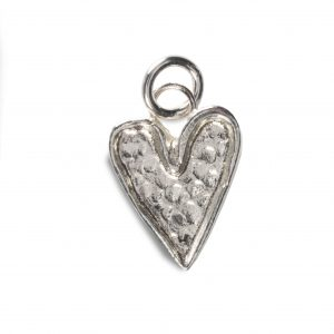 cornish tin & silver hammered heart charm