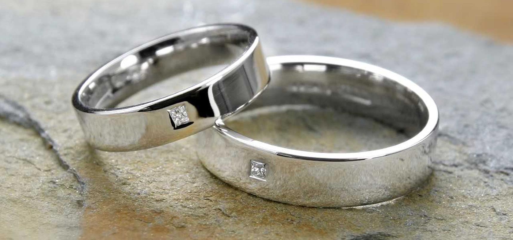 image of cornish tin and silver wedding bands