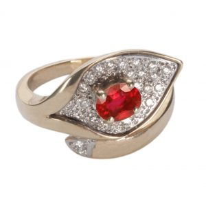 image of diamond and ruby ring.