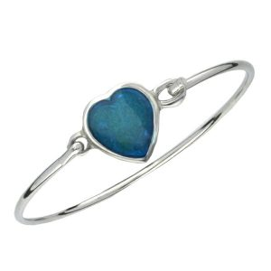 Blue enamelled heart bangle
