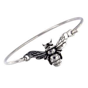 Silver bee clip bangle
