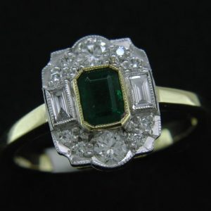 Cornish tin & gold diamond ring